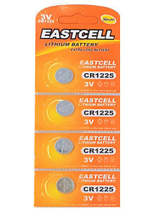 4-x-CR1225-3V-Lithium-Knopfzelle-50-mAh-1-Blistercard-a-4-Batterien-EASTCELL