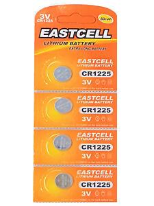 4-x-CR1225-3V-Lithium-Knopfzelle-50-mAh-1-Blistercard-a-4-Batterien-EASTCELL