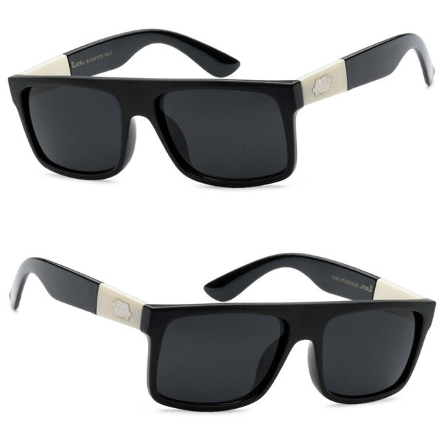 22e1d39ac7 Locs Mens Cholo Biker Flat Top Sunglasses UV Protection Shiny Black Frame  LC92 for sale online