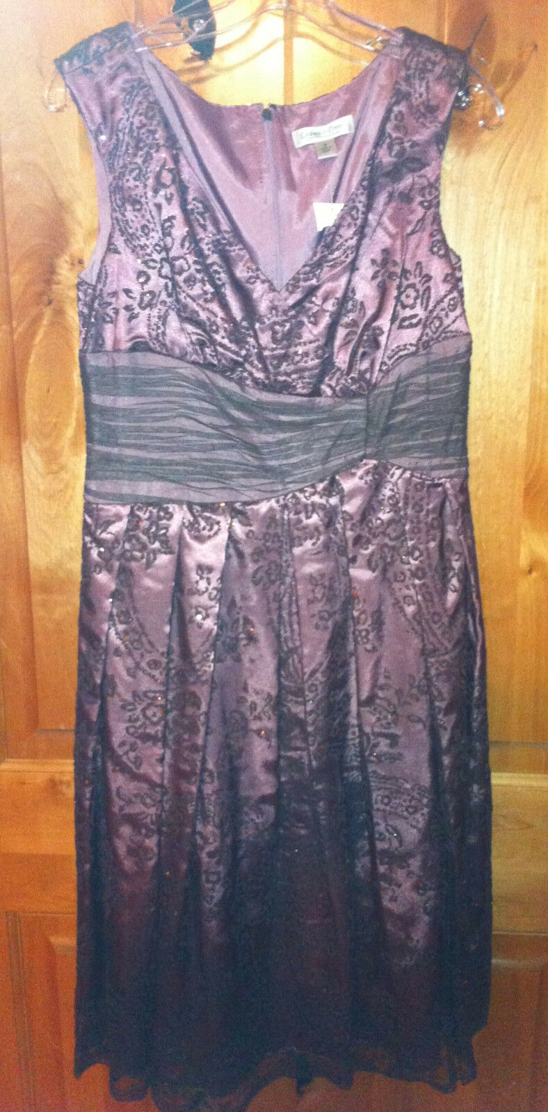 NWT COLDWATER CREEK Größe 8 STUNNING HOLIDAY DRESS BEADS SEQUIN OVER MESH lila