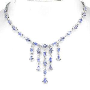 925-plata-esterlina-genuino-Azul-Violeta-Tanzanita-Colgante-Collar-17-5-pulgadas