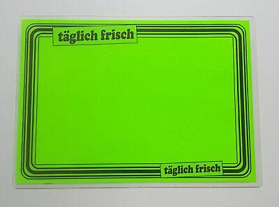 10 Preisschilder laminiert für Obst /& Gemüse ca 154 x 216 mm leuchtgelb Rand