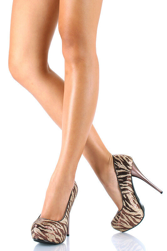 NEW Metallic Glitter Zebra Striped Striped Striped Almond Toe Platform High Heel Stiletto Pump 8 72b722