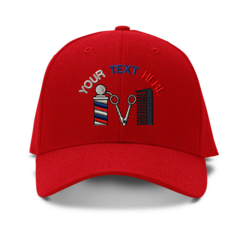 Your Text Here Custom Barber Shop Embroidered Adjustable Hat Baseball Cap
