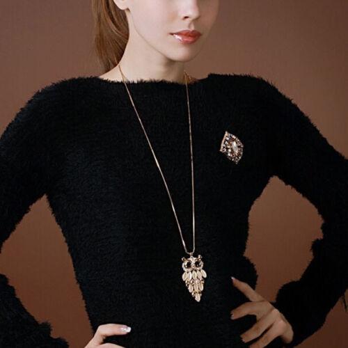 Fashion Owl Shaped Pendant Inlaid Rhinestone Long Sweater Chain Necklace LD