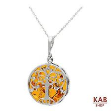 "COGNAC BALTIC AMBER STERLING SILVER 925 PENDANT small TREE+18""chain, KAB-274 .1"