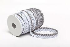 Schrägband weiß mit grauen Punkten und Häkelborte Einfassband mit Borte Bordüre