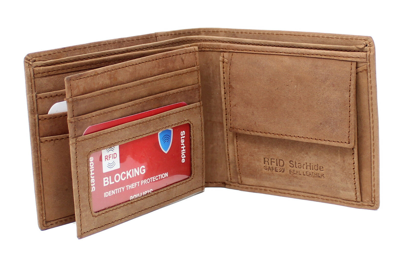 Mens RFID Blocking Distressed Hunter Leather Wallet Brown