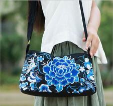 Blue flowers Embroidered Lady Shoulder Bag Canvas Messenger & Cross Body bag