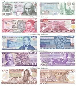 Mexico-10-20-50-100-1-000-Pesos-Set-of-5-Banknotes-UNC