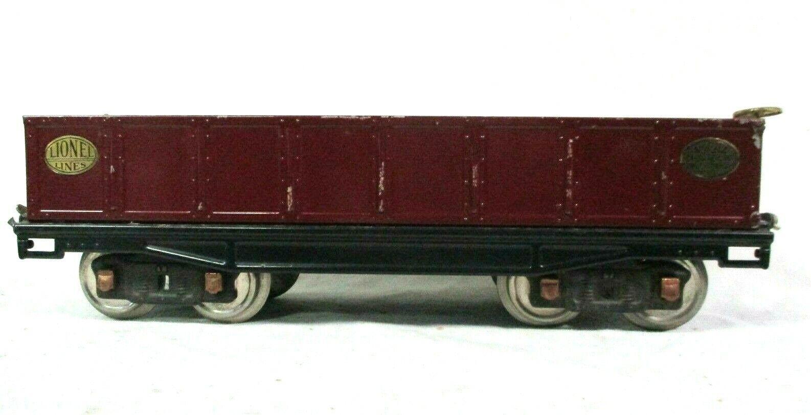 Lionel Gondola Car in Maroon Pre War Standard Vintage Model Railway B44-4
