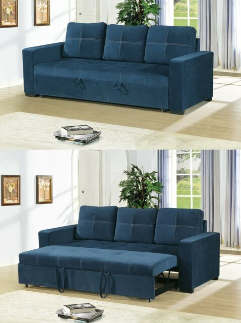 Small Space Convertible Sofa Bed Polyfiber Navy Plush Couch Comfort Living  Room