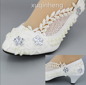be75c4eacc5 Details about new white pearl lace crystal Wedding shoes Bridal heels pumps  Heel size