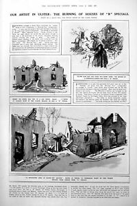 Antique-Print-Burning-Houses-Ulster-Artist-Drawings-Bridge-Destruction-1922