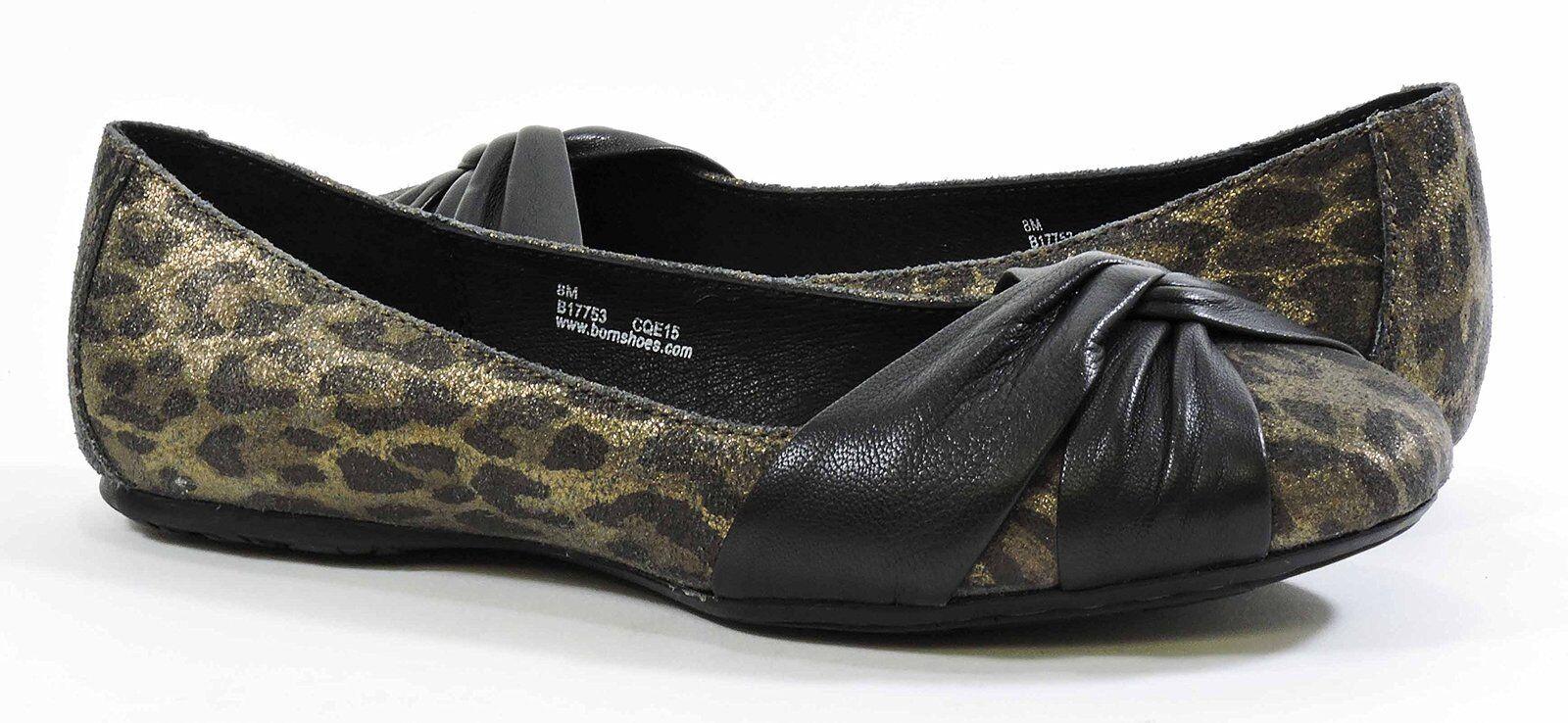 BORN LILLY BRONZE BLACK LEOPARD FLAT WOMEN Schuhe AS269