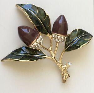 Unique-acorn-Brooch-Pendant-enamel-on-Metal-crystals