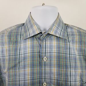 Peter Millar Mens Multi Color Plaid Check L/S Dress Button Shirt Sz Medium M