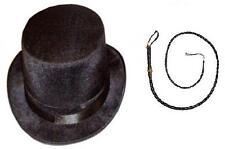 LADIES MENS ADULT RINGMASTER HAT & WHIP BLACK VELOUR VELVET TOP FANCY DRESS