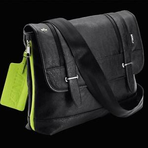 MINI-Cooper-by-Puma-Black-Leather-Shoulder-Bag-Laptop-Carrier-Organizer-New-OEM