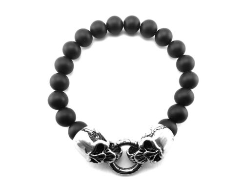 Onyx A009 Biker Totenkopf Schmuck bracelet Edelstahl Skull Armband Rocker