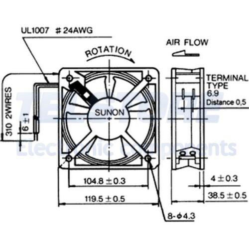 m3//h SUNON ±10/% 1pcs SP100A1123XBT Ventola AC assiale 115VAC 120x120x38mm 199