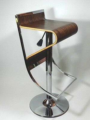 Bent Wood Chair Modern Chrome Swivel Adjustable Gas Lift