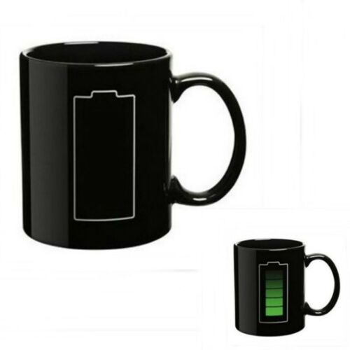 Heat Reactive Color Change Ceramic Mugs cup  pac man//morning//Battery cup New