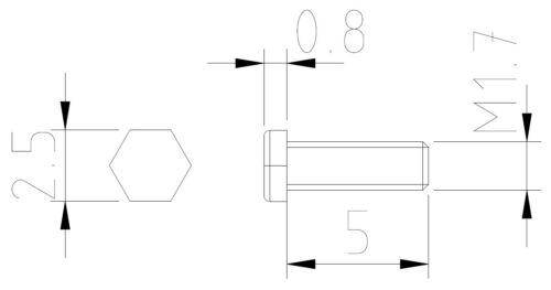 SK17500 Dingler Schrauben Außensechskant Messing M1.7x5mm 100 Stück