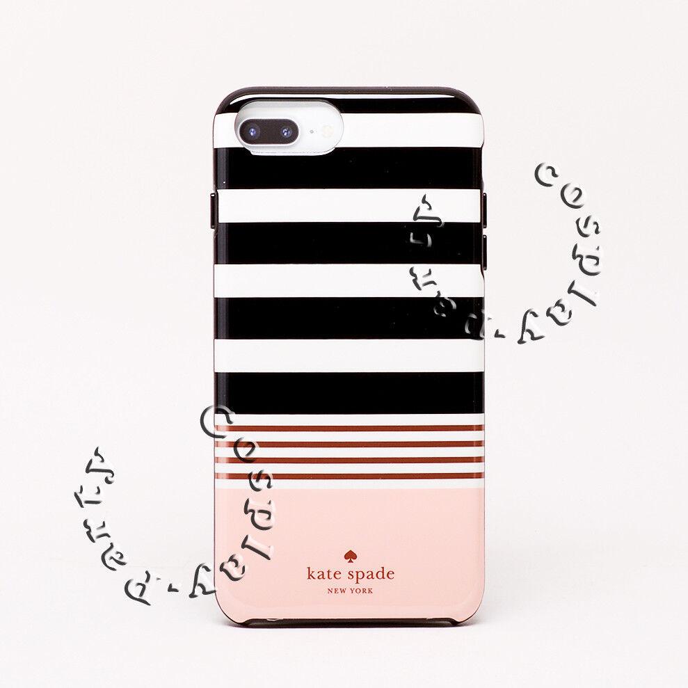 pretty nice 52c8d f4db5 Detalles acerca de Kate Spade Iphone 7 Plus estuche rígido iPhone 8  Plus-Negro Blanco Rayas en Rosa- mostrar título original