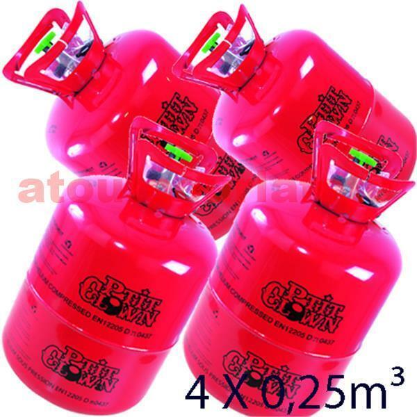 Lot de 4 Bouteilles d' Hélium jetable 4 x 0,25m3 (120 ballons)