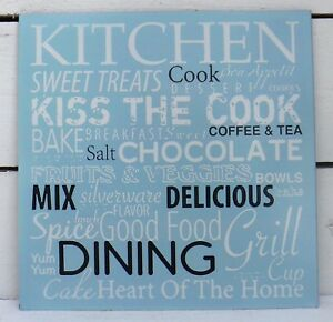 Blechschild-Kueche-Kitchen-kiss-the-cook-spice-good-blau-Schild-Blech-Metall
