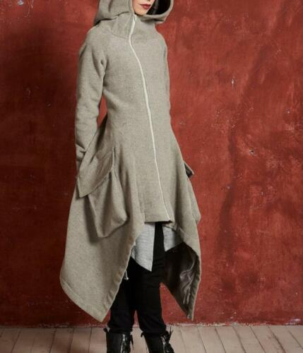 Irregular Women Long Gothic Steampunk Parka Coat Hooded Cotton Slim Jacket Sbox1