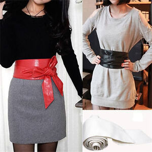 Fashion-Women-Soft-Leather-Wide-Waist-Belts-Bow-for-Dress-Clothes-Accessories