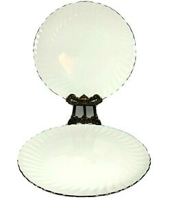Syracuse China Wedding Ring Dinner Plates Silhouette 10.5 Lot of 2 Very Nice