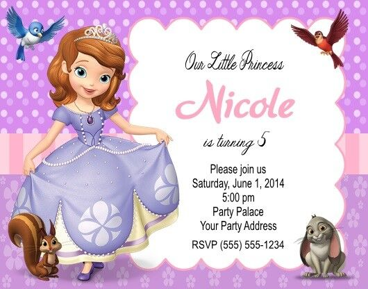Sofia the first princess birthday party invitations personalized sofia the first princess birthday party invitations personalized custom ebay filmwisefo