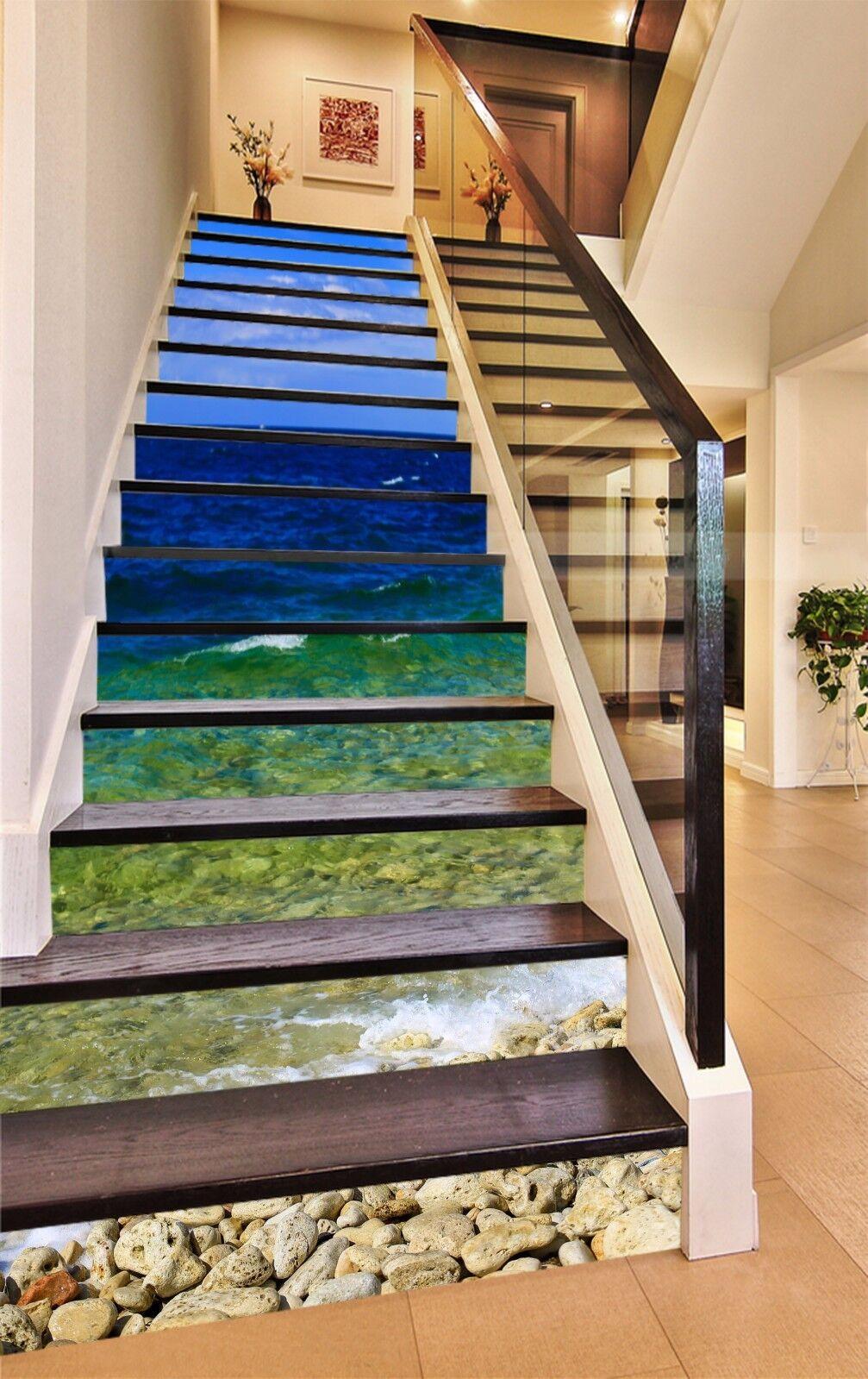 3D bluee Sea Stone 1532 Risers Decoration Photo Mural Vinyl Decal Wallpaper CA