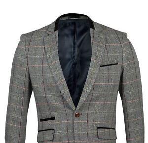 Mens Classic Slim Fit Grey Herringbone Check Blazer Velvet Notch Lapel Jacket