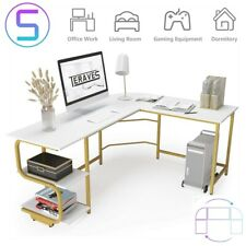 L Shaped Desk With Shelves Reversible Round Corner Computer Desk Gaming Table Us