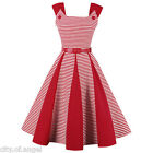 Womens Vintage 50s 60s Retro Belted Rockabilly Swing Pinup Cocktail Party Dress