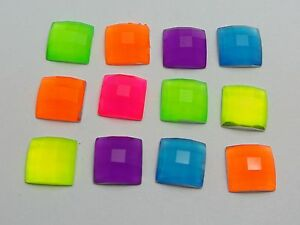 100-Mixed-Neon-Color-Flatback-Acrylic-Square-Rhinestone-Gems-10X10mm-No-Hole