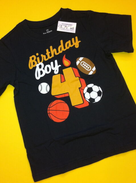 4th Birthday 4 Years Baby Boys Graphic Shirt 4T Gift Blue Nice SS Sports