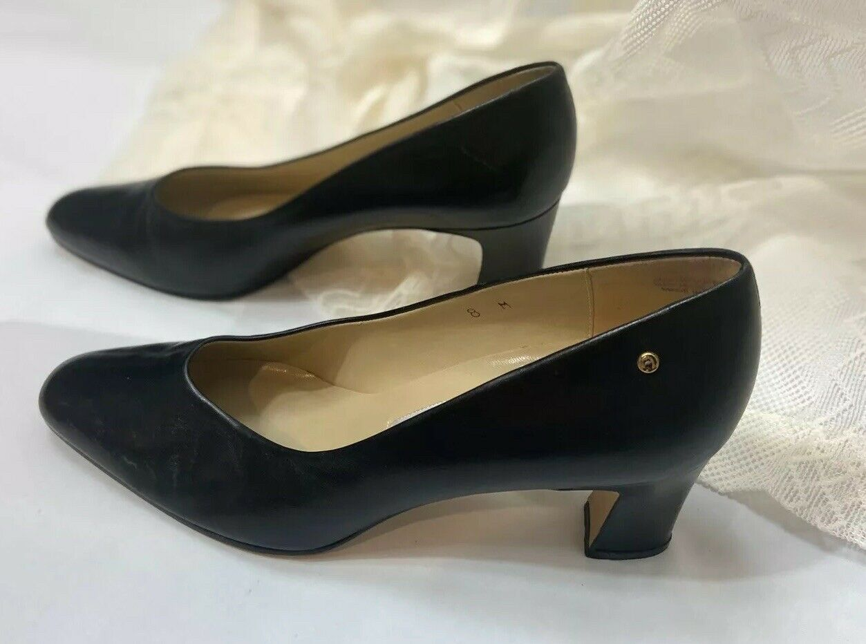 Ettienne Aigner Black Lesther Upper Leather Heels 3 Inch Pumps