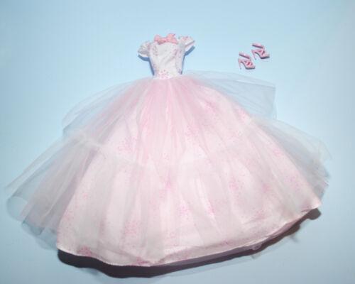 DREAMY Pale Pink Gown w Full Gauzy Skirt /& Heels Genuine BARBIE Fashion Clothes