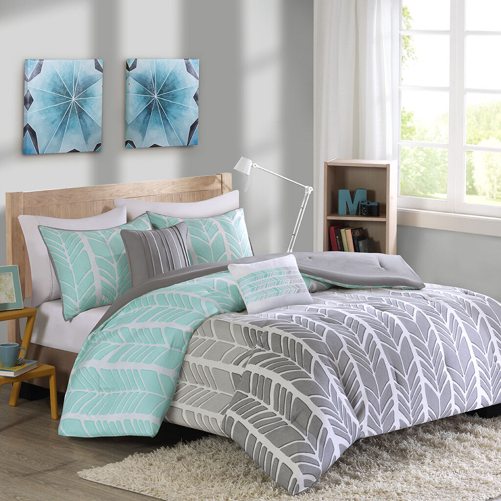 BEAUTIFUL MODERN grau Blau LIGHT AQUA CHEVRON STRIPE CONTEMPORARY COMFORTER SET