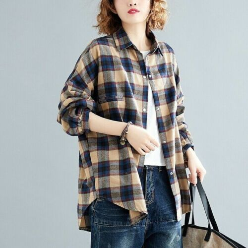 Women Cotton Plaid Shirt Blouse Top Casual Loose Baggy Oversized Retro Classic