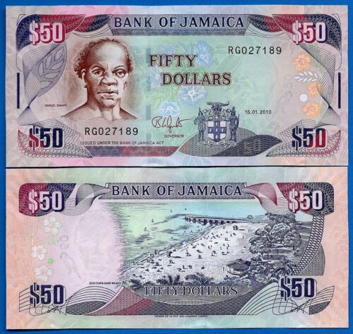 Jamaica P-83 50 Dollars Year 2010 Uncirculated Banknote