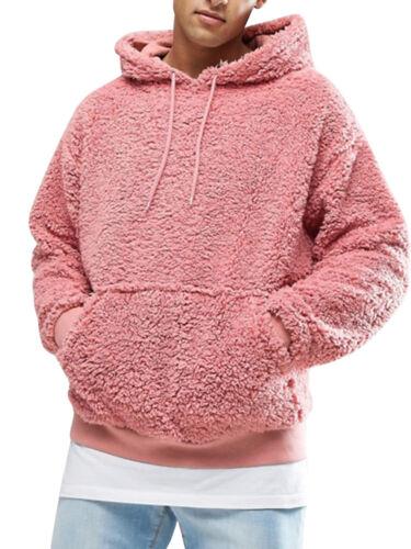 Mens Sherpa Pullover Hoodies Pebble Pile Fleece Oversize Sweatshirts with Pocket