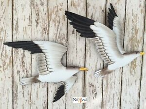 2-Metal-Seagull-Wall-Plaques-Nautical-Beach-Decor-Shore-Bird