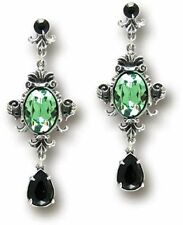 Alchemy Gothic Green Crystal Queen of the Night Earrings Baroque E273