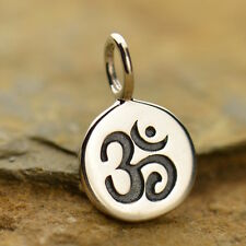 925 Sterling Silver Ohm Om Charm Tiny Disc Yoga Jewelry Spiritual Pendant 646